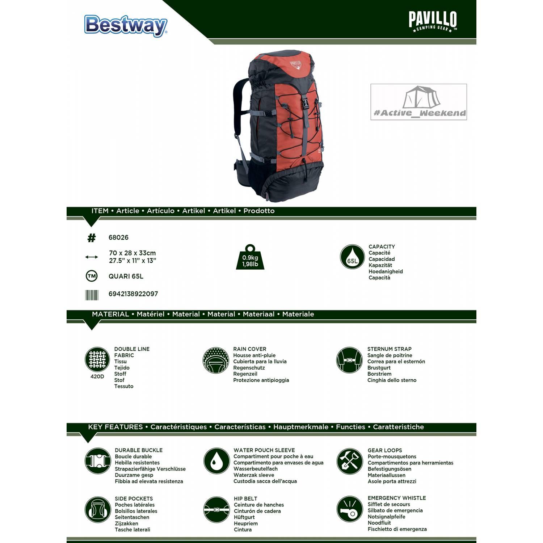 Рюкзак походный 68026 Quari 65L Pavillo by Bestway