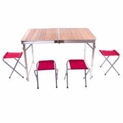 Стол бамбуковый складной+ 4 стула 110*70*70 C03-12