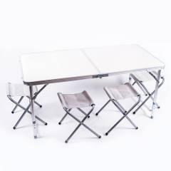Стол туристический, алюминий, пластик, 4 стула, 120*60*70/55cm