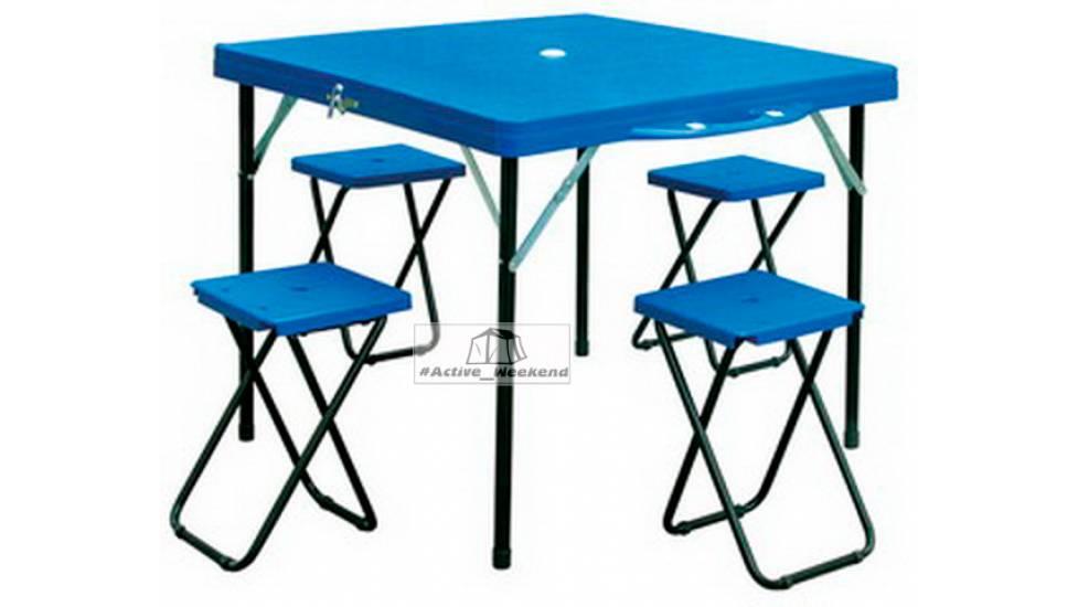 Стол кемпинговый + 4 стула (пластмаса ABS)