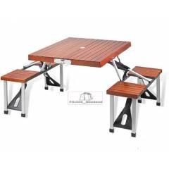 Стол кемпинговый + 4 стула (дерево)