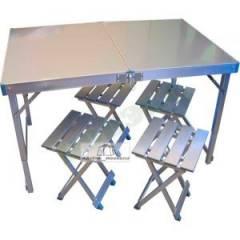Кемпинговый набор стол + 4 стула (алюминий)