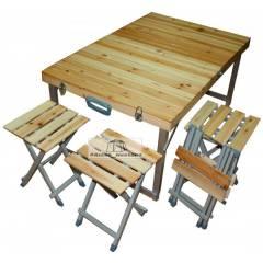 Набор кемпинговый стол + 4 стула (дерево)